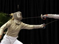 Mariel Zagunis (USA) in action at the Korfanty Cup in Chicago, IL.  Zagunis took 2nd in the individual women's sabre and 1st in the team event with Team USA.  Photo A.Timacheff/FencingPhotos