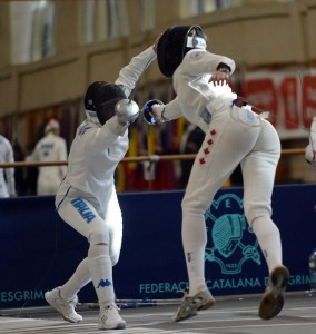 Sherraine Schalm fencing in Barcelona
